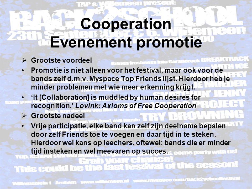 Cooperation Evenement promotie  Meer voorbeelden Social software & Promotie http://www.ideaconference.org/blog/ http://www.sbfilmfestival.org/blog/ http://silkscreenfestival.org/blog/ http://boardbuzz.nsba.org/t+l/ http://www.differance-engine.net/ni2006blog/ …etc…etc…etc…