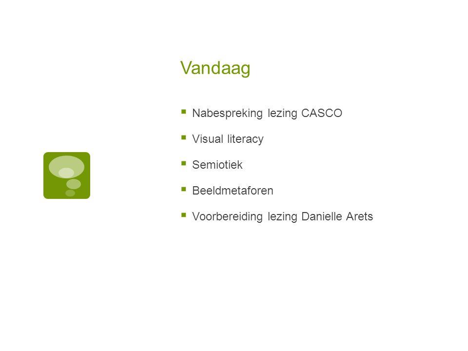 Vandaag  Nabespreking lezing CASCO  Visual literacy  Semiotiek  Beeldmetaforen  Voorbereiding lezing Danielle Arets