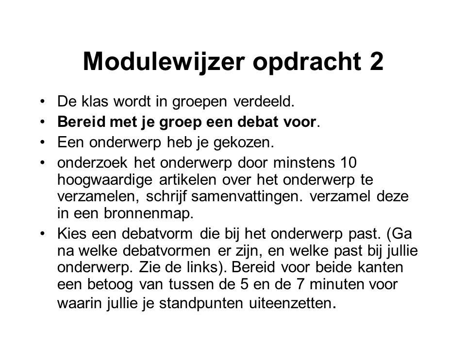Modulewijzer opdracht 2 De klas wordt in groepen verdeeld.