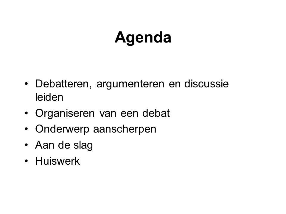 Debat = een stelling + twee partijen (de voorstanders en de tegenstanders).