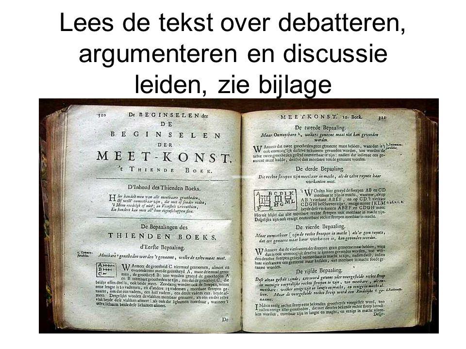 Lees de tekst over debatteren, argumenteren en discussie leiden, zie bijlage
