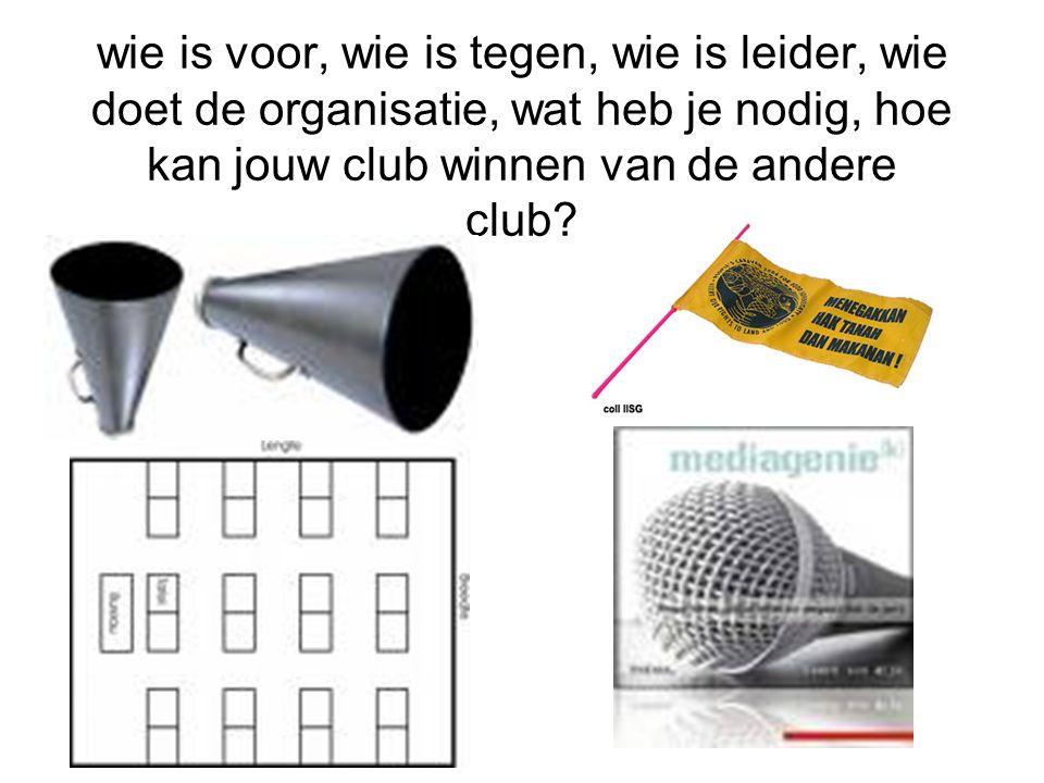 wie is voor, wie is tegen, wie is leider, wie doet de organisatie, wat heb je nodig, hoe kan jouw club winnen van de andere club?