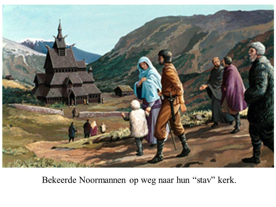 """Bekeerde Noormannen op weg naar hun """"stav"""" kerk."""