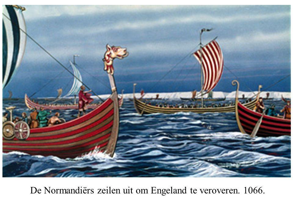 De Normandiërs zeilen uit om Engeland te veroveren. 1066.