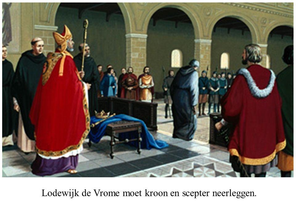 Lodewijk de Vrome moet kroon en scepter neerleggen.