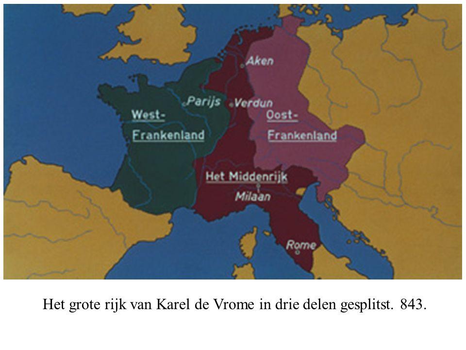 Het grote rijk van Karel de Vrome in drie delen gesplitst. 843.