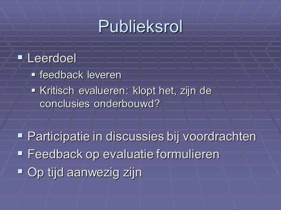 Publieksrol  Leerdoel  feedback leveren  Kritisch evalueren: klopt het, zijn de conclusies onderbouwd.