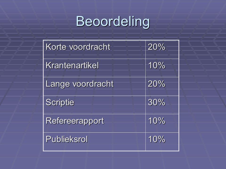Beoordeling Korte voordracht 20% Krantenartikel10% Lange voordracht 20% Scriptie30% Refereerapport10% Publieksrol10%