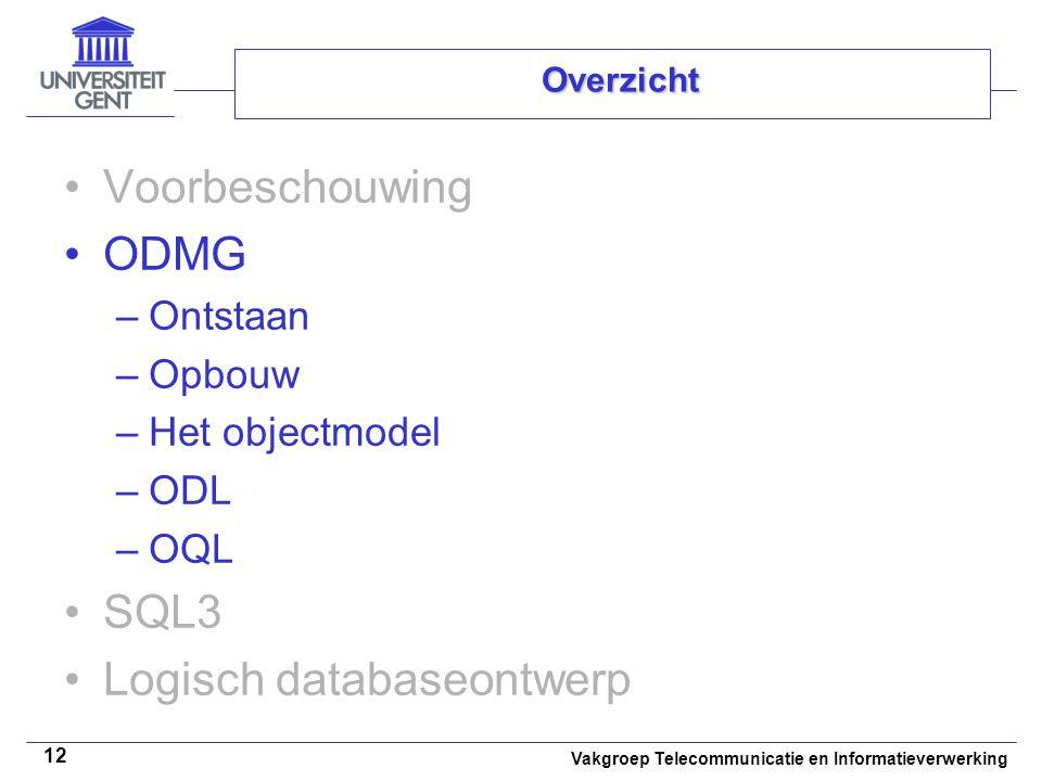 Vakgroep Telecommunicatie en Informatieverwerking 12 Overzicht Voorbeschouwing ODMG –Ontstaan –Opbouw –Het objectmodel –ODL –OQL SQL3 Logisch database