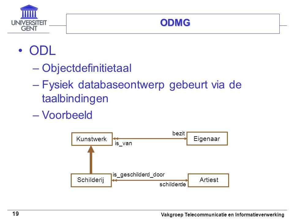 Vakgroep Telecommunicatie en Informatieverwerking 19 ODMG ODL –Objectdefinitietaal –Fysiek databaseontwerp gebeurt via de taalbindingen –Voorbeeld Art