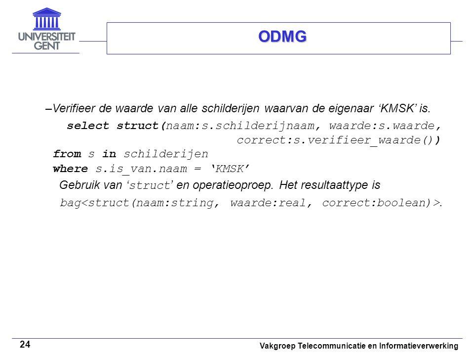 Vakgroep Telecommunicatie en Informatieverwerking 24 ODMG –Verifieer de waarde van alle schilderijen waarvan de eigenaar 'KMSK' is. select struct(naam