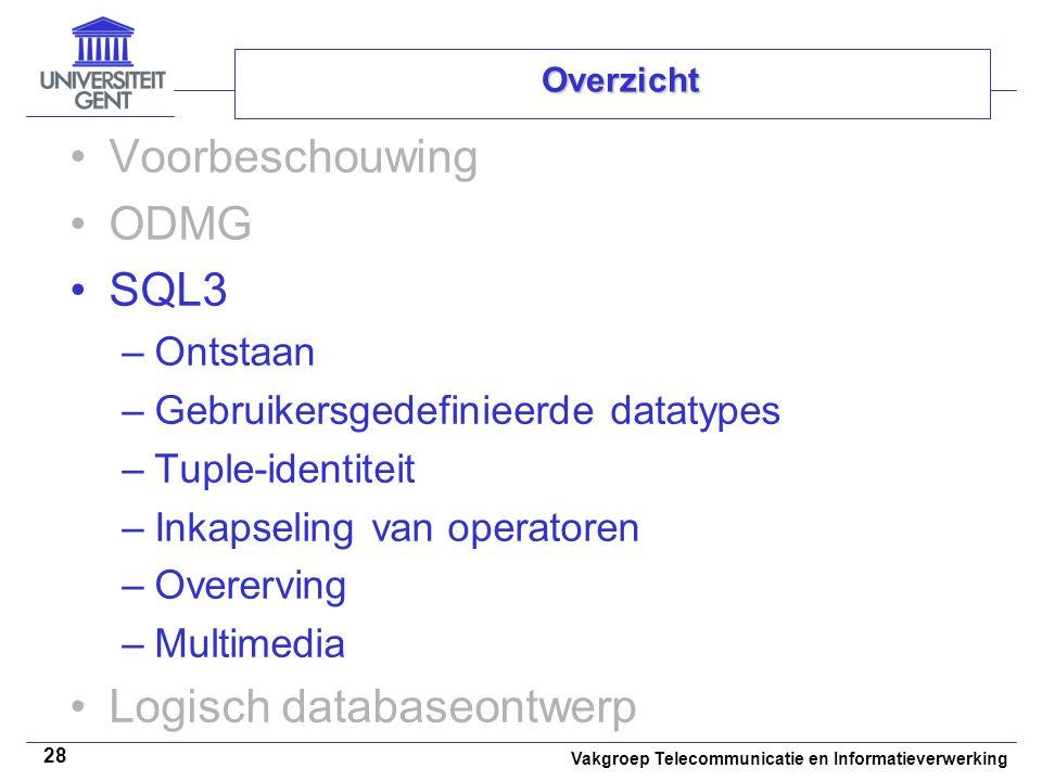Vakgroep Telecommunicatie en Informatieverwerking 28 Overzicht Voorbeschouwing ODMG SQL3 –Ontstaan –Gebruikersgedefinieerde datatypes –Tuple-identitei