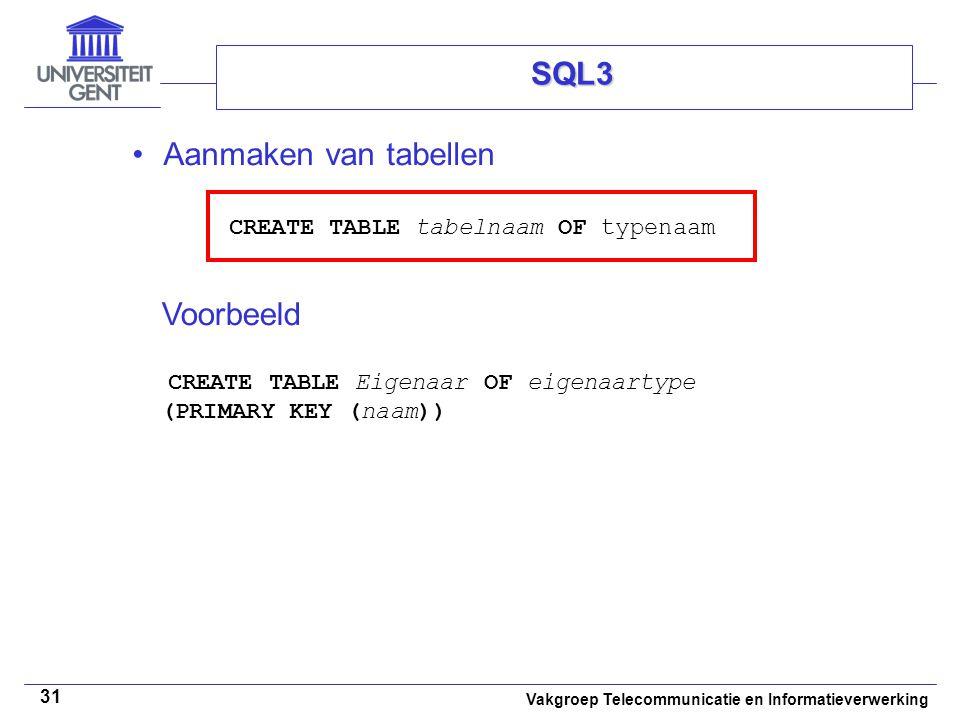 Vakgroep Telecommunicatie en Informatieverwerking 31 SQL3 Aanmaken van tabellen CREATE TABLE tabelnaam OF typenaam Voorbeeld CREATE TABLE Eigenaar OF