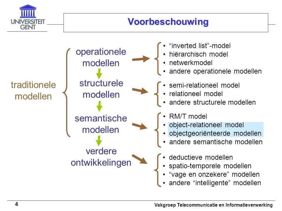 """Vakgroep Telecommunicatie en Informatieverwerking 4 Voorbeschouwing operationele modellen """"inverted list""""-model hiërarchisch model netwerkmodel andere"""