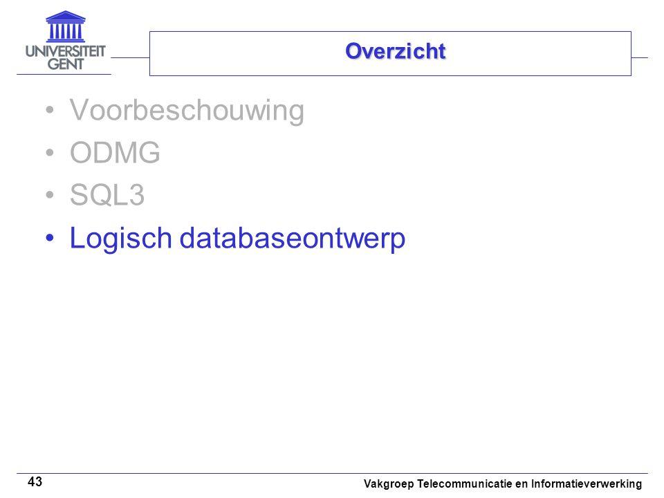 Vakgroep Telecommunicatie en Informatieverwerking 43 Overzicht Voorbeschouwing ODMG SQL3 Logisch databaseontwerp