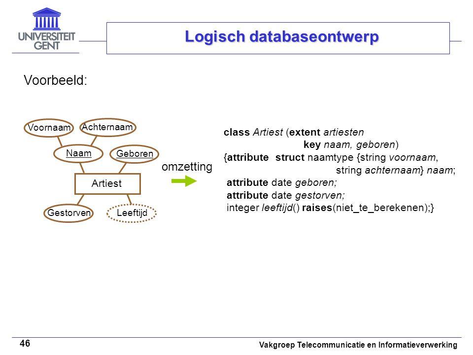 Vakgroep Telecommunicatie en Informatieverwerking 46 Logisch databaseontwerp Voorbeeld: class Artiest (extent artiesten key naam, geboren) {attribute
