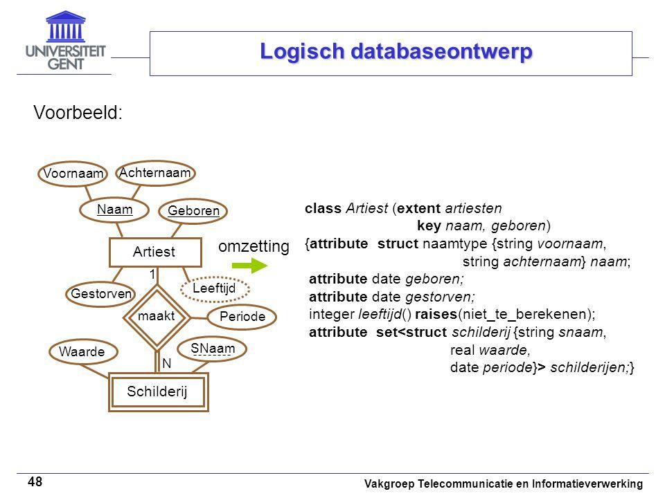 Vakgroep Telecommunicatie en Informatieverwerking 48 Logisch databaseontwerp Voorbeeld: class Artiest (extent artiesten key naam, geboren) {attribute