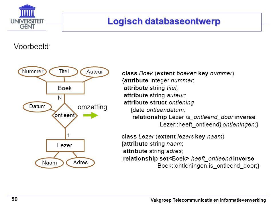 Vakgroep Telecommunicatie en Informatieverwerking 50 Logisch databaseontwerp Voorbeeld: class Boek (extent boeken key nummer) {attribute integer numme