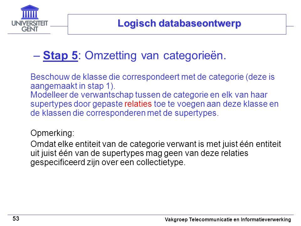 Vakgroep Telecommunicatie en Informatieverwerking 53 Logisch databaseontwerp –Stap 5: Omzetting van categorieën. Beschouw de klasse die correspondeert