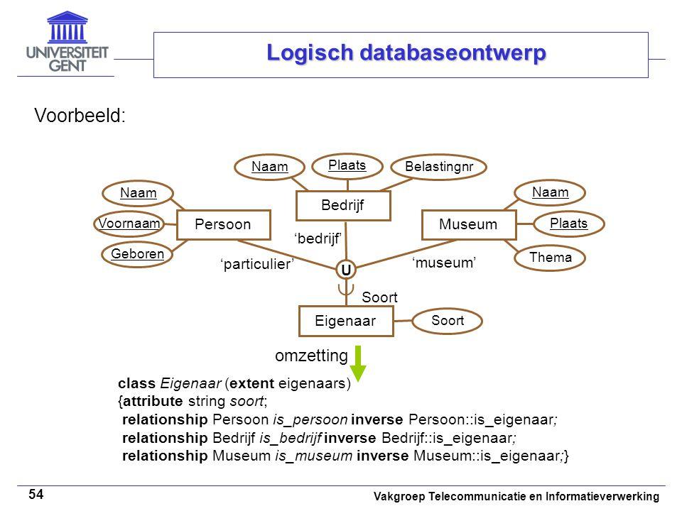 Vakgroep Telecommunicatie en Informatieverwerking 54 Logisch databaseontwerp Voorbeeld: class Eigenaar (extent eigenaars) {attribute string soort; rel