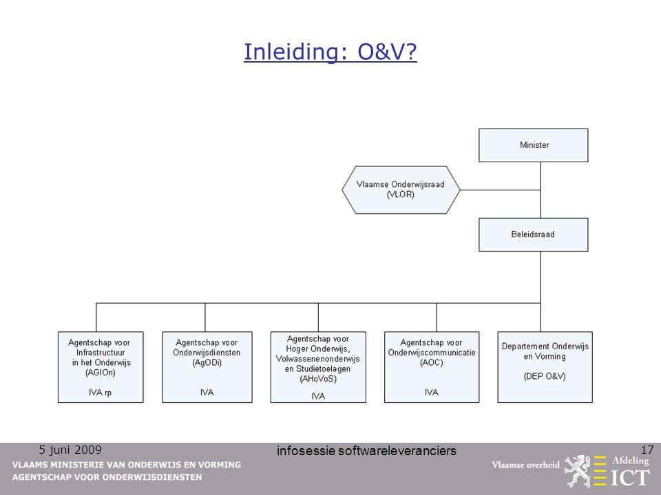 5 juni 2009 infosessie softwareleveranciers 17 Inleiding: O&V?