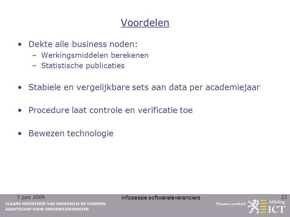5 juni 2009 infosessie softwareleveranciers 23 Voordelen Dekte alle business noden: –Werkingsmiddelen berekenen –Statistische publicaties Stabiele en