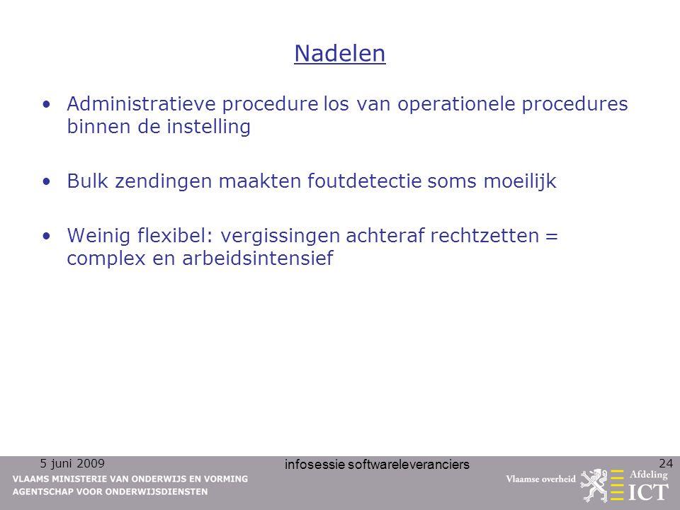 5 juni 2009 infosessie softwareleveranciers 24 Nadelen Administratieve procedure los van operationele procedures binnen de instelling Bulk zendingen m