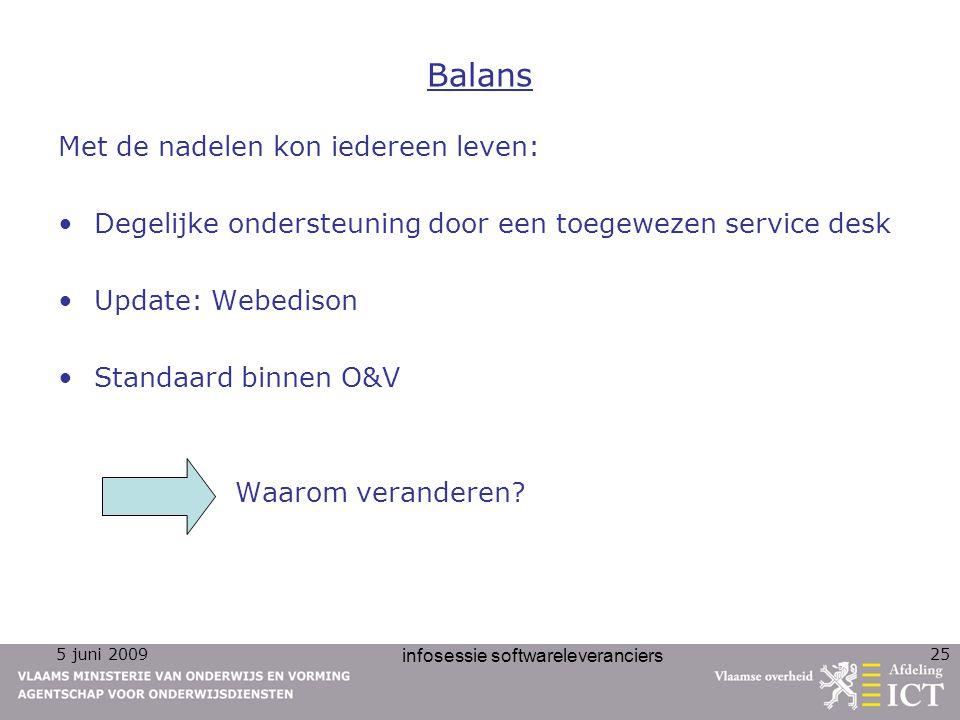 5 juni 2009 infosessie softwareleveranciers 25 Balans Met de nadelen kon iedereen leven: Degelijke ondersteuning door een toegewezen service desk Upda