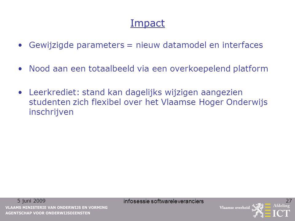 5 juni 2009 infosessie softwareleveranciers 27 Impact Gewijzigde parameters = nieuw datamodel en interfaces Nood aan een totaalbeeld via een overkoepe