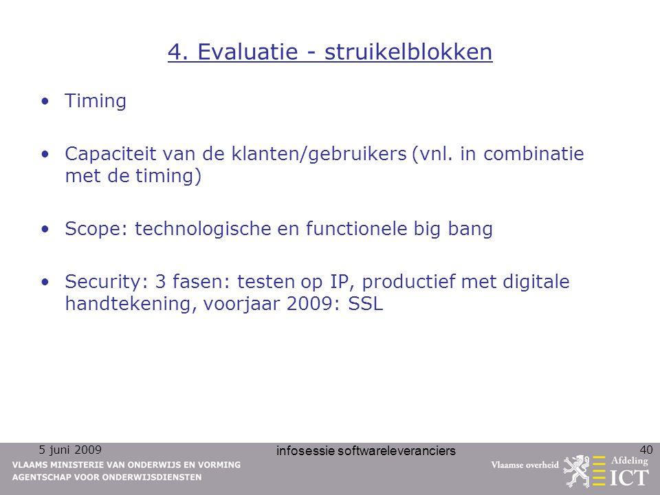 5 juni 2009 infosessie softwareleveranciers 40 4. Evaluatie - struikelblokken Timing Capaciteit van de klanten/gebruikers (vnl. in combinatie met de t