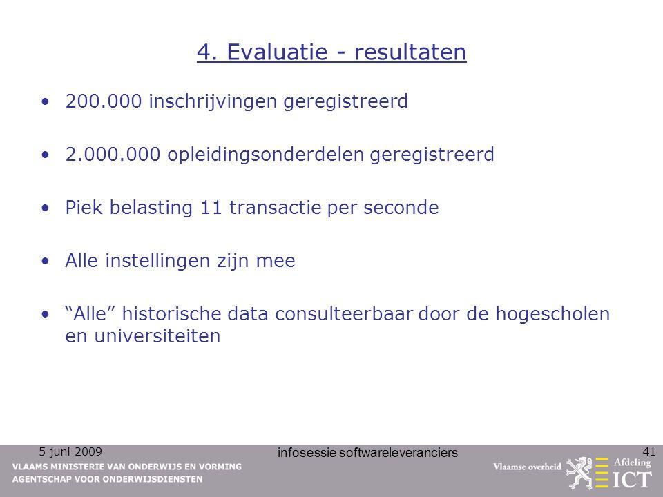 5 juni 2009 infosessie softwareleveranciers 41 4. Evaluatie - resultaten 200.000 inschrijvingen geregistreerd 2.000.000 opleidingsonderdelen geregistr