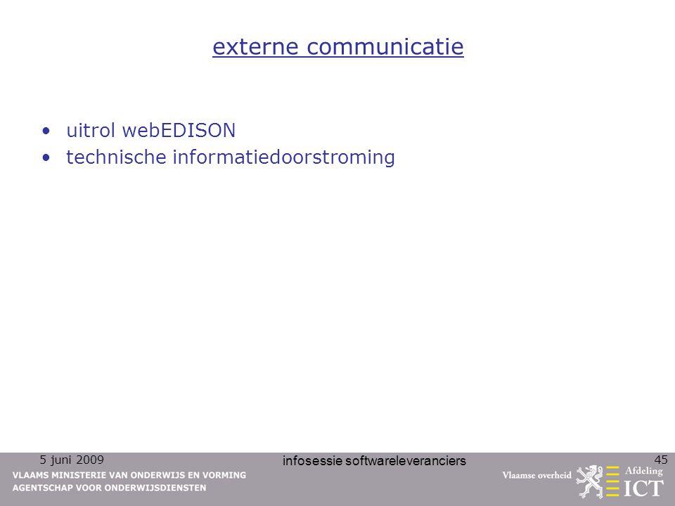 5 juni 2009 infosessie softwareleveranciers 45 externe communicatie uitrol webEDISON technische informatiedoorstroming