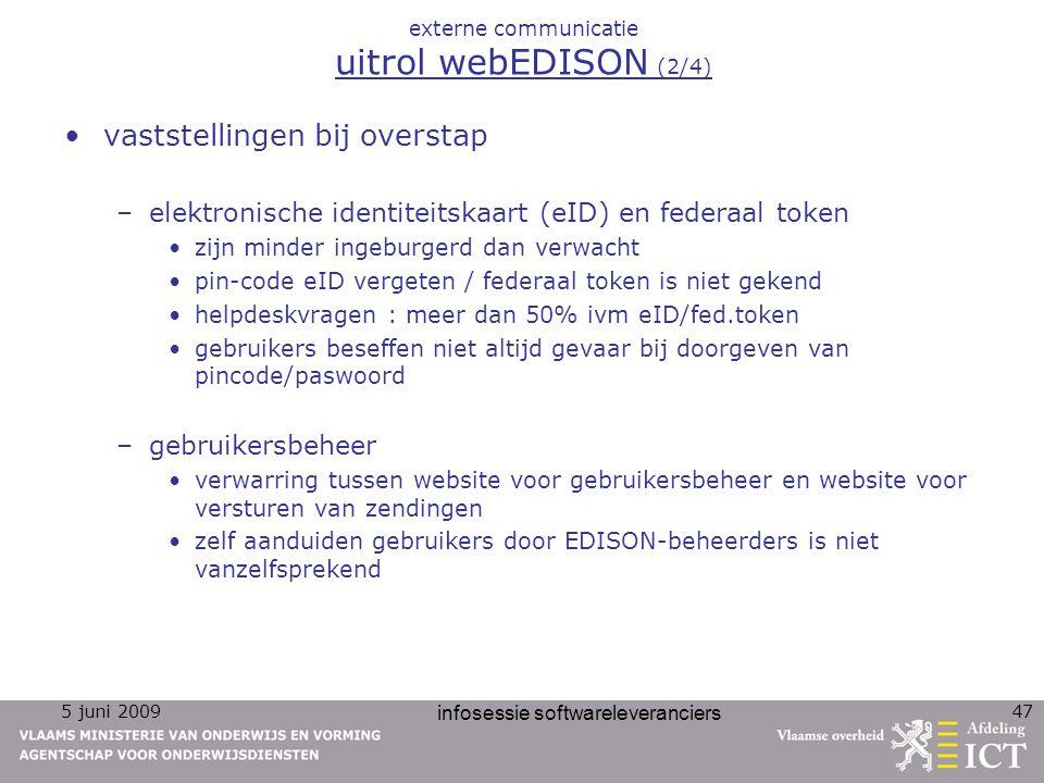 5 juni 2009 infosessie softwareleveranciers 47 externe communicatie uitrol webEDISON (2/4) vaststellingen bij overstap –elektronische identiteitskaart