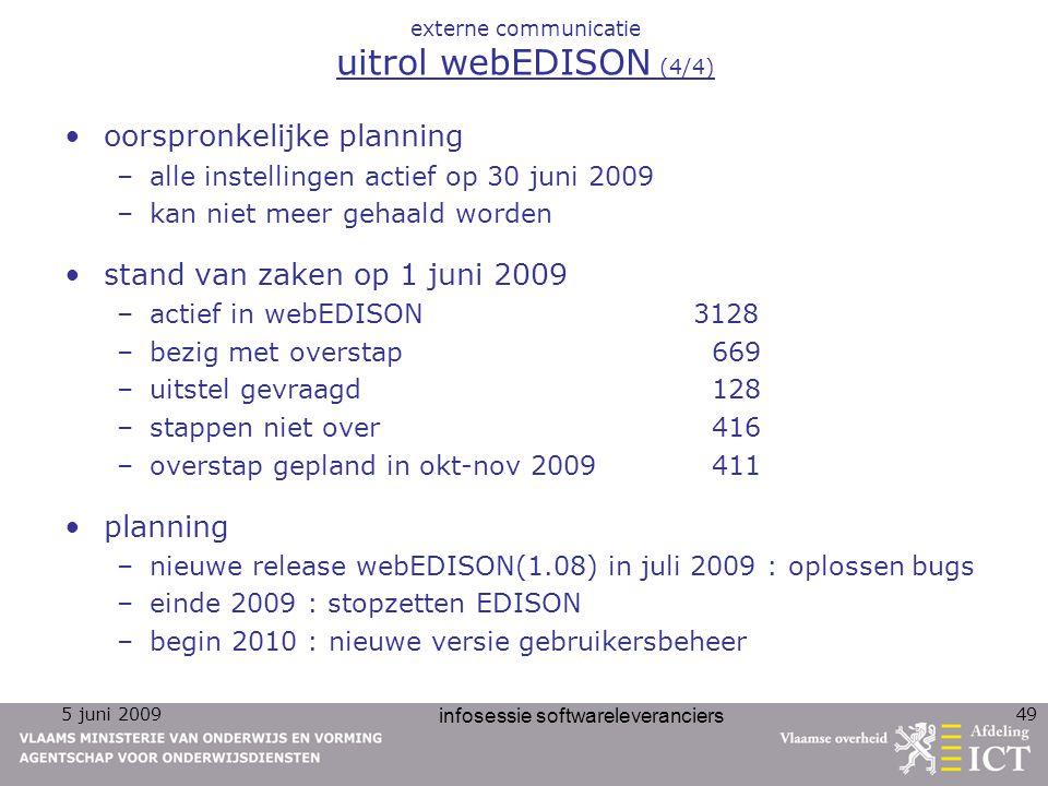 5 juni 2009 infosessie softwareleveranciers 49 externe communicatie uitrol webEDISON (4/4) oorspronkelijke planning –alle instellingen actief op 30 ju