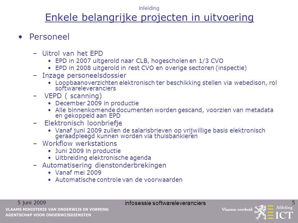5 juni 2009 infosessie softwareleveranciers 5 inleiding Enkele belangrijke projecten in uitvoering Personeel –Uitrol van het EPD EPD in 2007 uitgerold