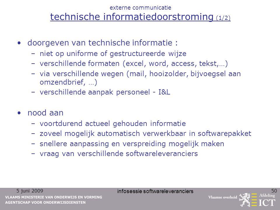 5 juni 2009 infosessie softwareleveranciers 50 externe communicatie technische informatiedoorstroming (1/2) doorgeven van technische informatie : –nie