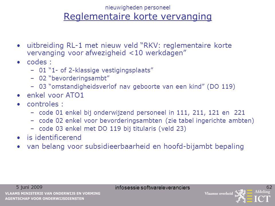 """5 juni 2009 infosessie softwareleveranciers 62 nieuwigheden personeel Reglementaire korte vervanging uitbreiding RL-1 met nieuw veld """"RKV: reglementai"""