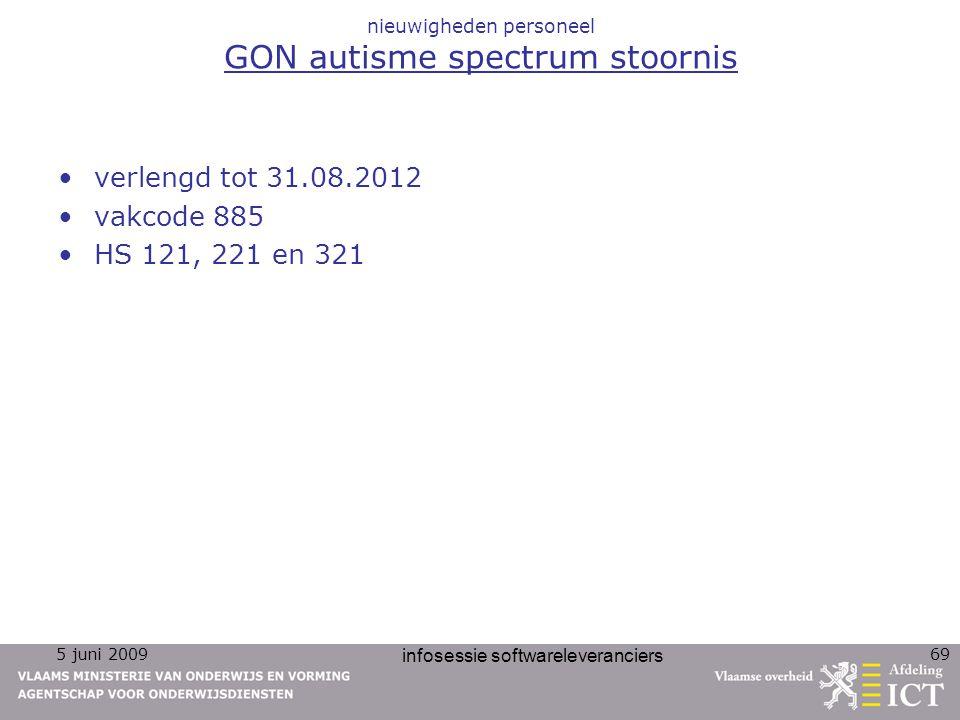 5 juni 2009 infosessie softwareleveranciers 69 nieuwigheden personeel GON autisme spectrum stoornis verlengd tot 31.08.2012 vakcode 885 HS 121, 221 en