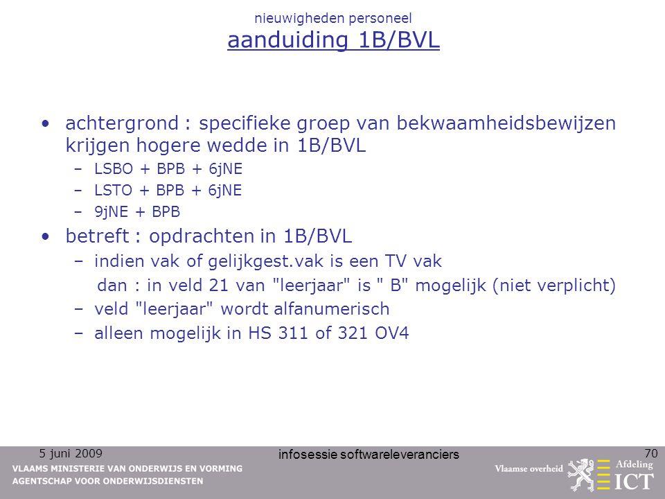 5 juni 2009 infosessie softwareleveranciers 70 nieuwigheden personeel aanduiding 1B/BVL achtergrond : specifieke groep van bekwaamheidsbewijzen krijge