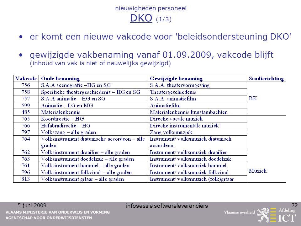 5 juni 2009 infosessie softwareleveranciers 72 nieuwigheden personeel DKO (1/3) er komt een nieuwe vakcode voor 'beleidsondersteuning DKO' gewijzigde
