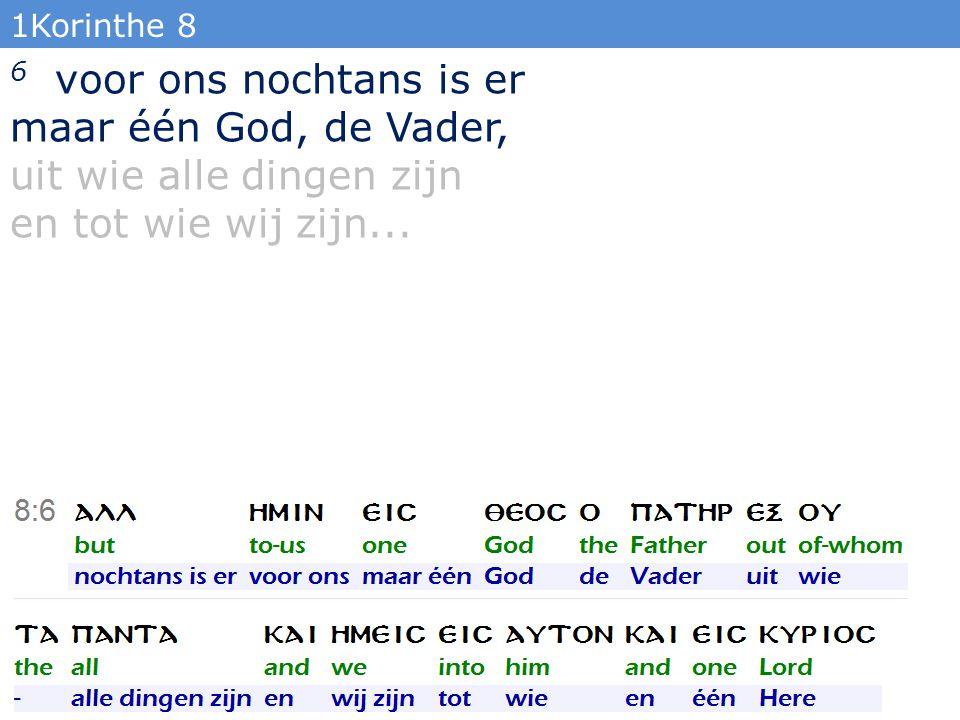 1Korinthe 8 6 voor ons nochtans is er maar één God, de Vader, uit wie alle dingen zijn en tot wie wij zijn...
