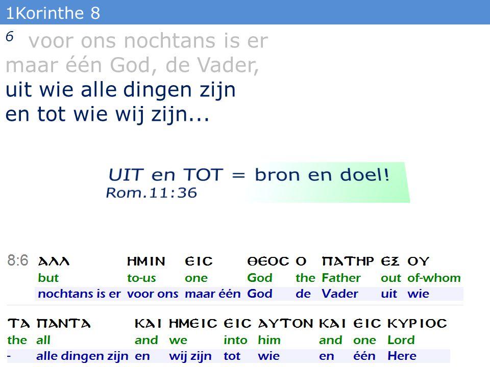 1Korinthe 8 6... en één Here, Jezus Christus, door wie alle dingen zijn, en wij door Hem. 23