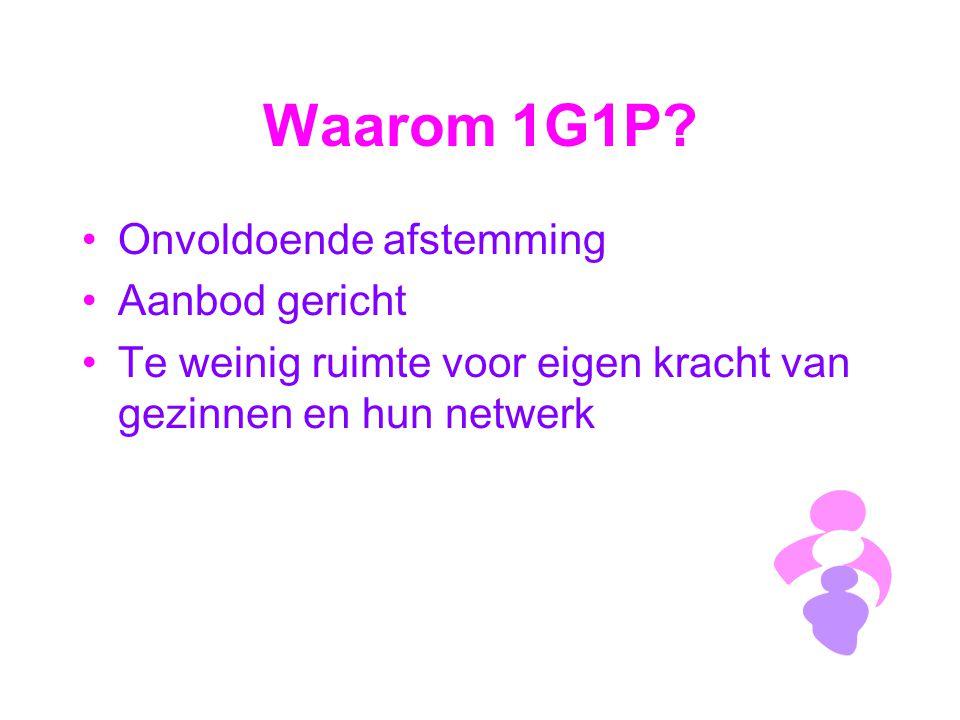 Waarom 1G1P? Onvoldoende afstemming Aanbod gericht Te weinig ruimte voor eigen kracht van gezinnen en hun netwerk