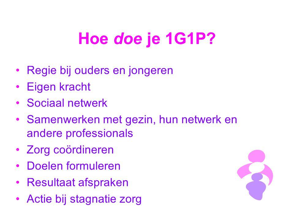 Hoe doe je 1G1P? Regie bij ouders en jongeren Eigen kracht Sociaal netwerk Samenwerken met gezin, hun netwerk en andere professionals Zorg coördineren