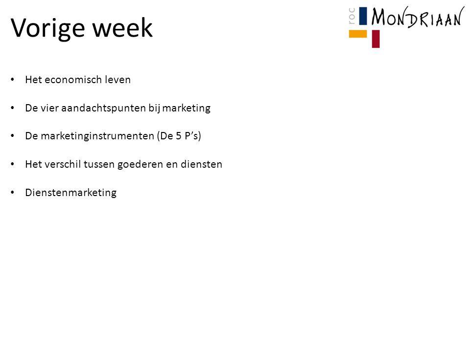 Vorige week Het economisch leven De vier aandachtspunten bij marketing De marketinginstrumenten (De 5 P's) Het verschil tussen goederen en diensten Di