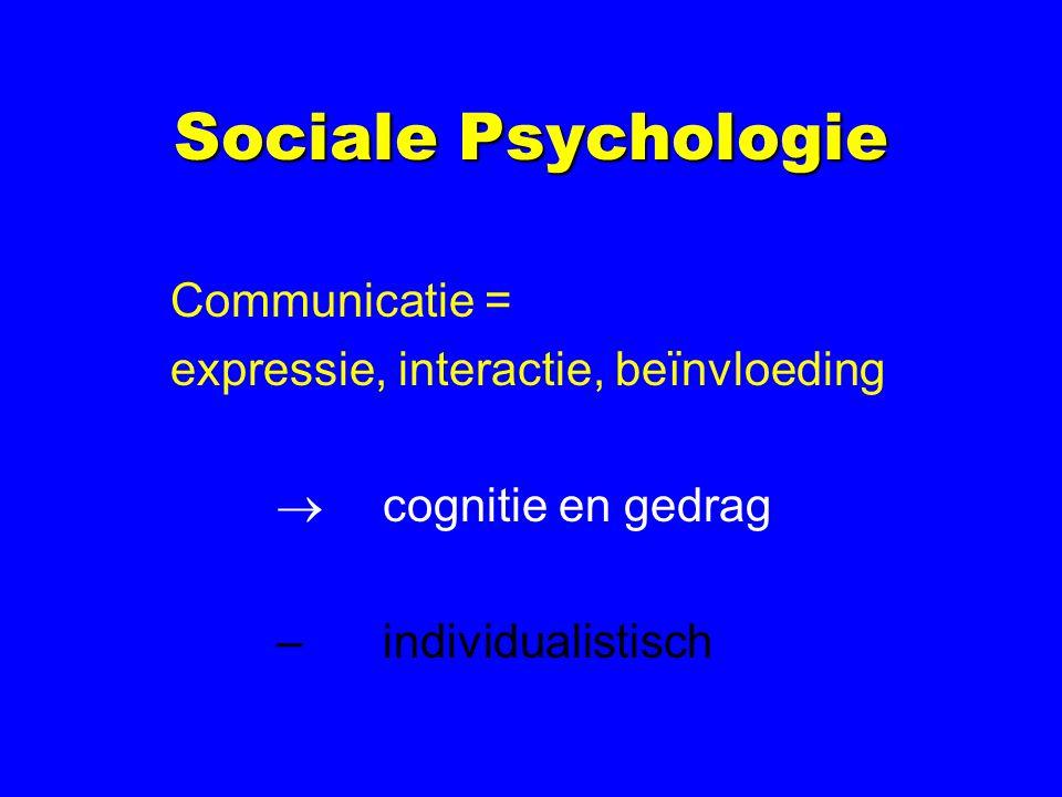 Sociale Psychologie Communicatie = expressie, interactie, beïnvloeding  cognitie en gedrag –individualistisch