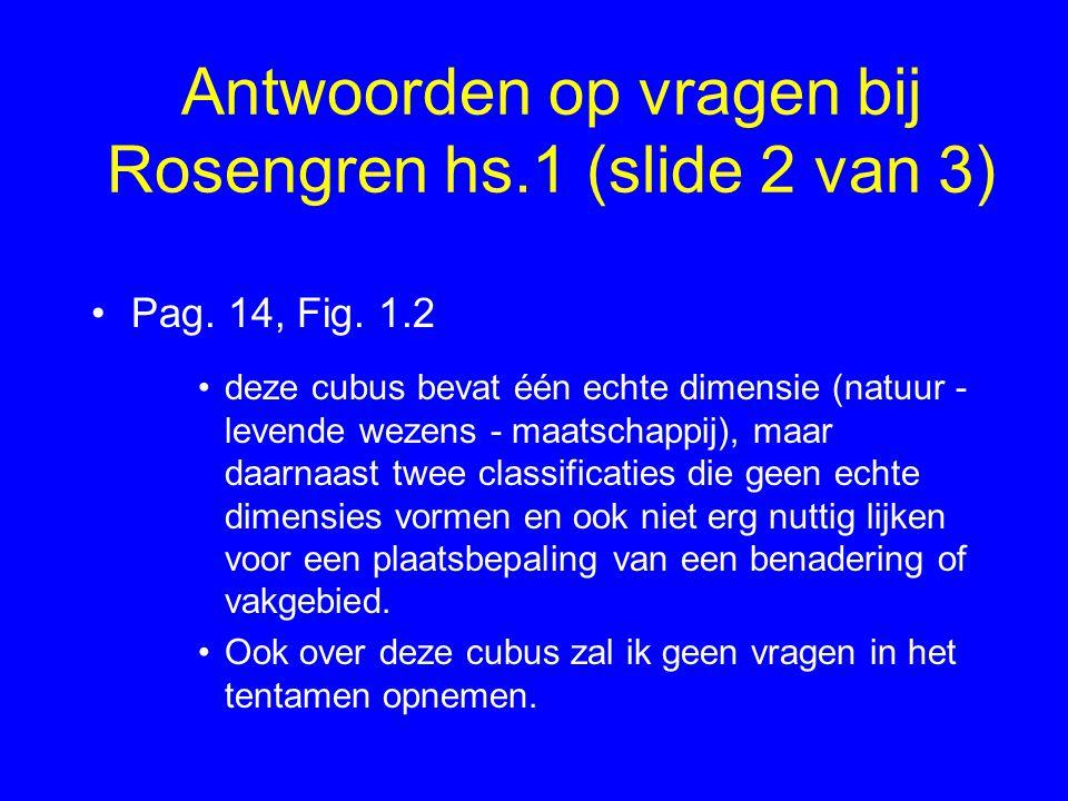 Antwoorden op vragen bij Rosengren hs.1 (slide 2 van 3) Pag. 14, Fig. 1.2 deze cubus bevat één echte dimensie (natuur - levende wezens - maatschappij)