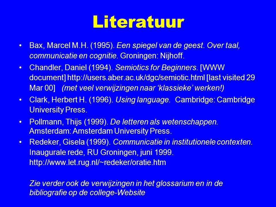 Literatuur Bax, Marcel M.H. (1995). Een spiegel van de geest. Over taal, communicatie en cognitie. Groningen: Nijhoff. Chandler, Daniel (1994). Semiot