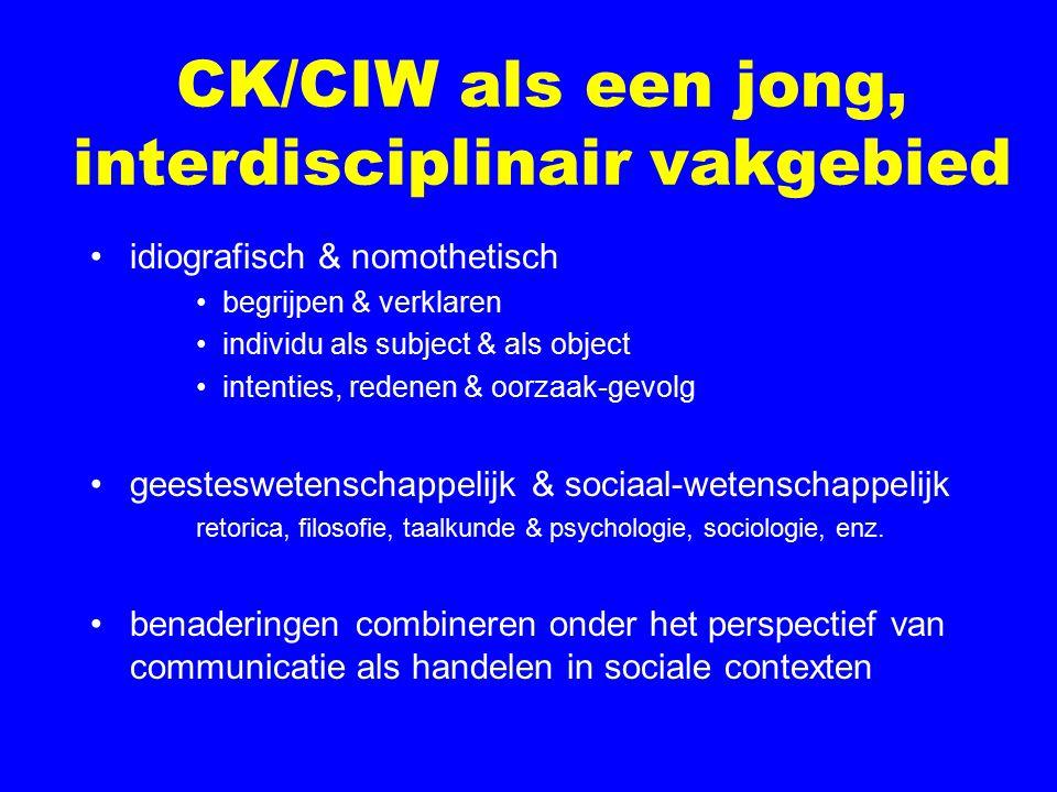 CK/CIW als een jong, interdisciplinair vakgebied idiografisch & nomothetisch begrijpen & verklaren individu als subject & als object intenties, redenen & oorzaak-gevolg geesteswetenschappelijk & sociaal-wetenschappelijk retorica, filosofie, taalkunde & psychologie, sociologie, enz.