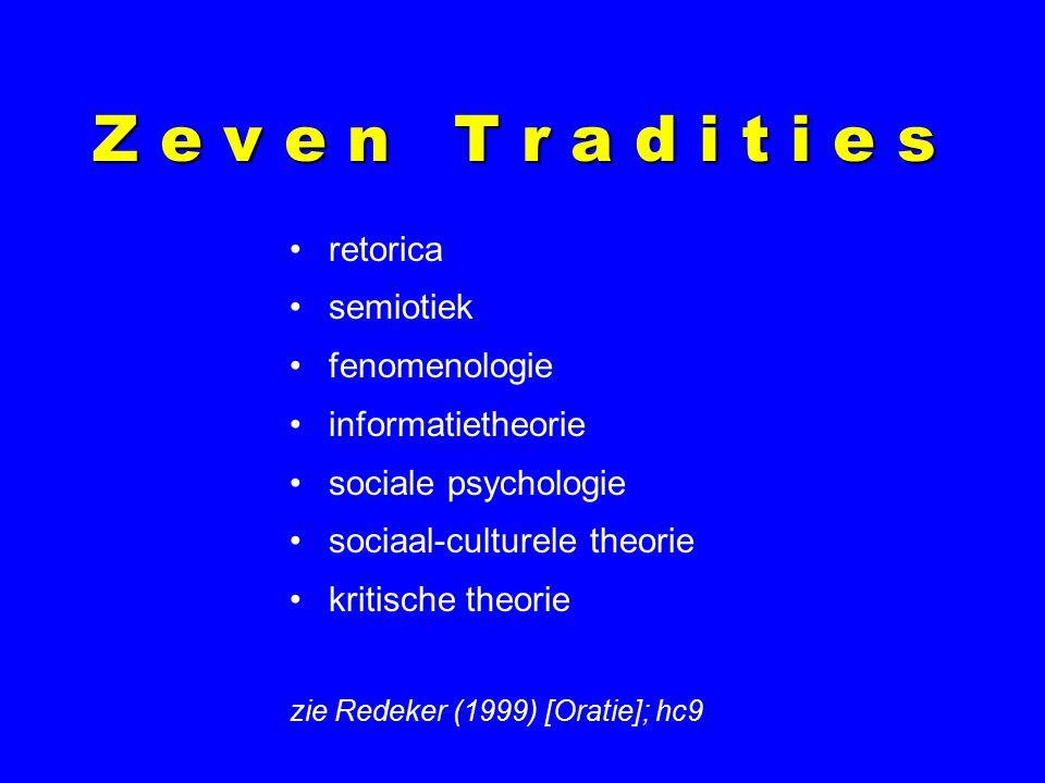 Z e v e n T r a d i t i e s retorica semiotiek fenomenologie informatietheorie sociale psychologie sociaal-culturele theorie kritische theorie zie Redeker (1999) [Oratie]; hc9